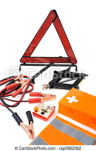 Emergency kit for car - first aid kit, car jack, jumper cables, warning triangle, light bulb kit - csp5862362
