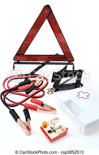 Emergency kit for car - first aid kit, car jack, jumper cables, warning triangle, light bulb kit - csp5852513