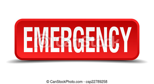 Emergency red 3d square button isolated on white background - csp22789258