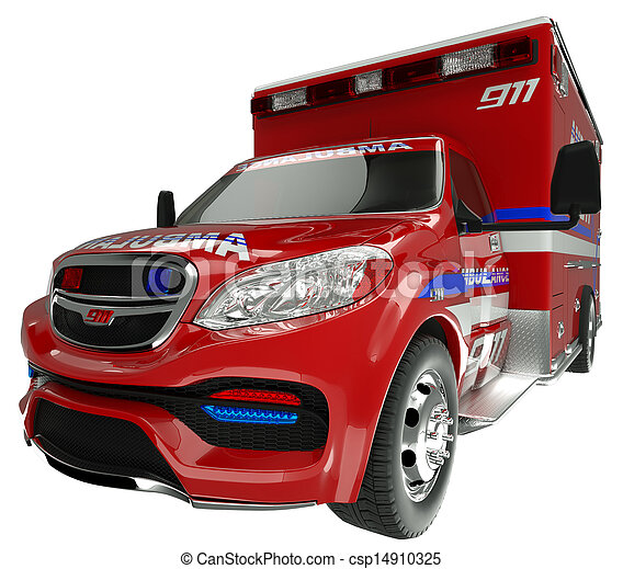 Emergency services vehicle: wide angle view of on white - csp14910325