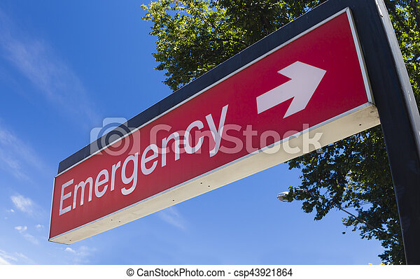 Emergency sign of a hospital - csp43921864