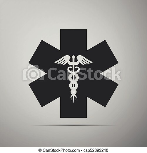 Emergency star - medical symbol Caduceus snake with stick icon isolated on grey background. Star of Life. Flat design. Vector Illustration - csp52893248