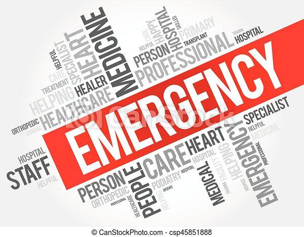 Emergency word cloud collage - csp45851888