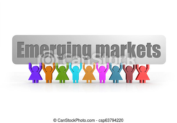 Emerging markets word on a banner hold by group of puppets - csp63794220