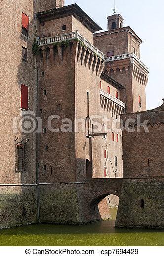 (emilia-romagna, 中世, italy), -, 城, ferrara - csp7694429
