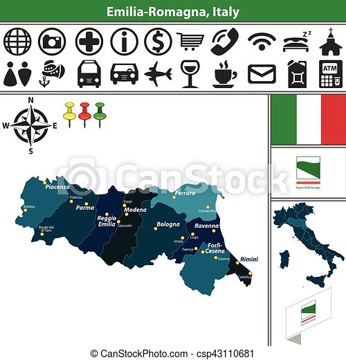 Emilia romagna with regions italy Vector map of emilia vector