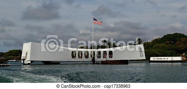 emlékmű, arizona, kikötő, hawaii, gyöngyszem, uss - csp17338963