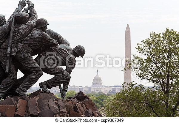 emlékmű, iwo, washington, részletez, egyenáram, jima - csp9367049