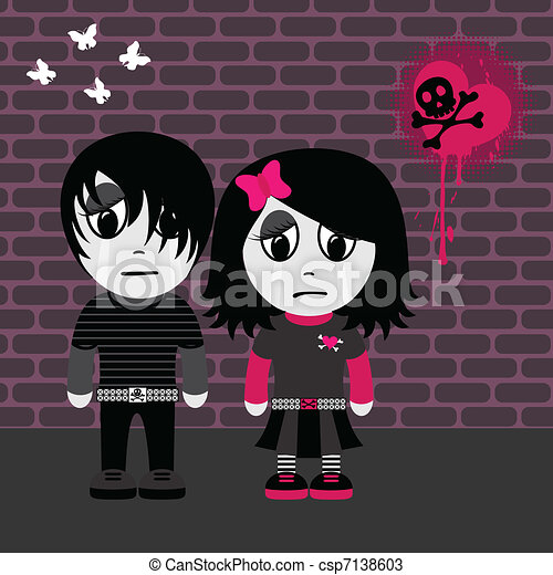 Emo Couple Sad Emo Girl And Boy Eps 8 Cmyk With Global Colors