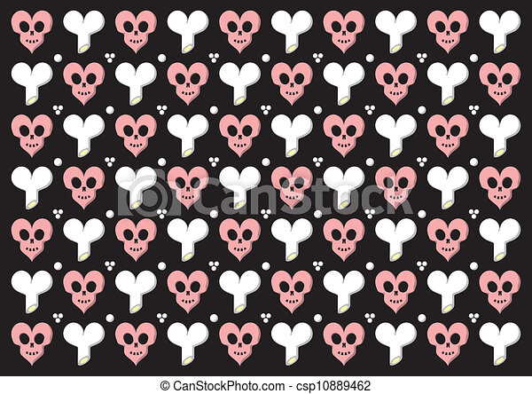 Line Art Valentine : Emo gothic valentine wrapper with heart shaped skulls and clip