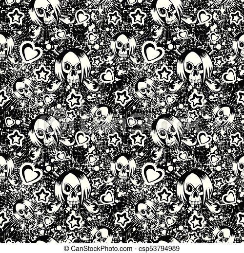 Emo Background Vector Illustration Cartoon Black And White Emo Girl