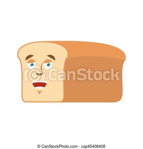Emoji feliz de pan. Un trozo de pan ríe de la emoción aislada - csp45408408