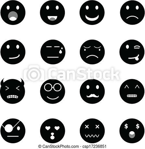 Iconos redondos de emoción sobre fondo blanco - csp17236851