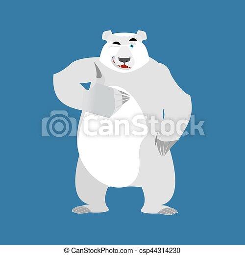 El oso polar guiña el emoji. Animal salvaje ártico y Antártico. Feliz bestia emocional pulgares hacia arriba - csp44314230