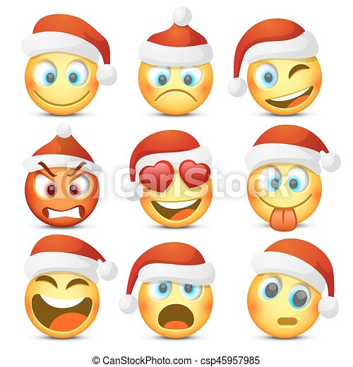 emoji and sad new year hat icon set vector illustration