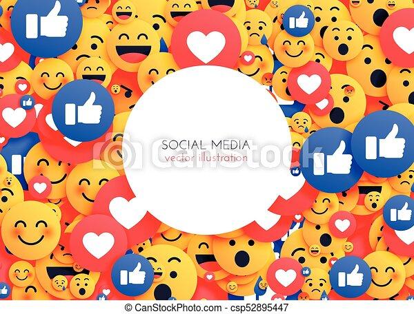 Line Art Media Design : Emoji background smiley icons for social media eps vector search