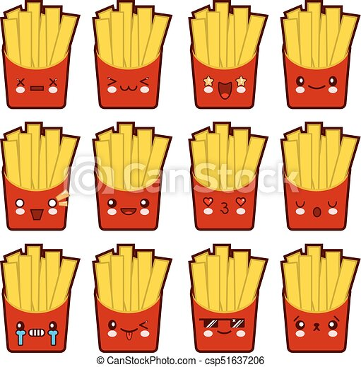 Emoji emoticon french fries with a lot of variation Set of kawaii face french fries emoticons. Isolated on white background. Flat design Vector Illustration - csp51637206