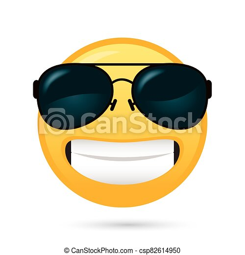 emoji face with sunglasses funny character - csp82614950