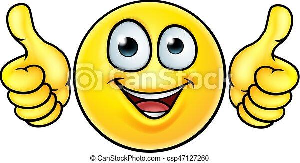 Emoji Pouces Haut Icone Emoticon Sien Icone Tres Deux Haut Regarder Pouces Emoji Dessin Anime Heureux Canstock