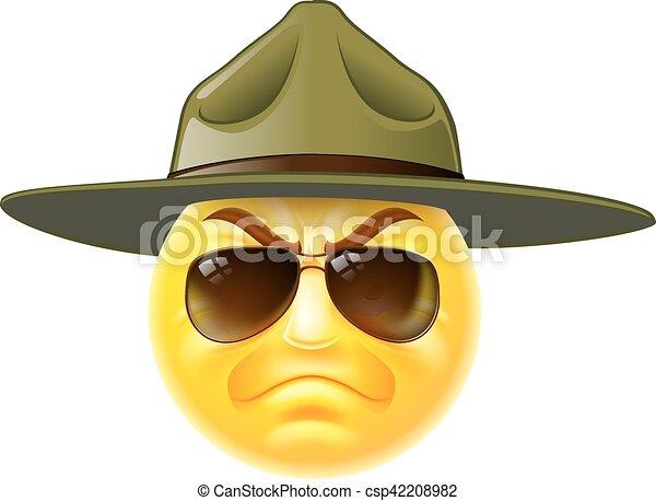 Emoji Sergent Foret Emoticon Botte Foret Camp Lunettes Soleil Armee Dessin Anime Emoji Sergent Porter Emoticon Canstock