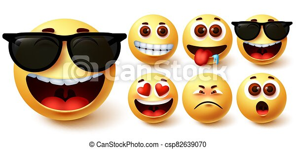 Emoji smiley vector set. Cute yellow smileys face with different feelings and facial expressions - csp82639070