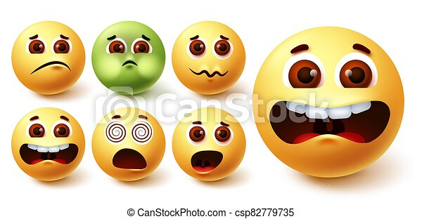 Emoji smiley vector set. Smileys yellow emoji face in different weird facial expressions - csp82779735