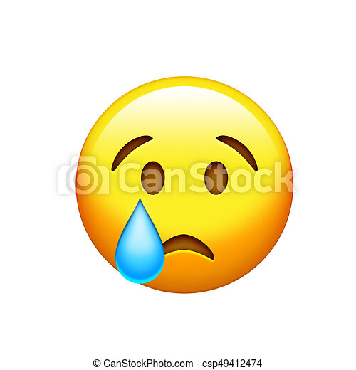 Emoji Yellow Sad Face With Drop Of Blue Crying Tear Icon