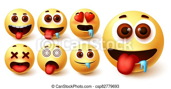 Emojis smiley emoticon vector set. Emoji avatar character face in hungry, silly, in love - csp82779693