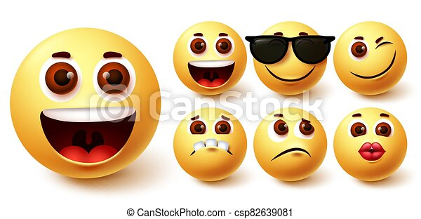 Emojis smiley vector set. Emoji smileys cute yellow face in different facial expressions - csp82639081