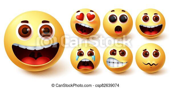 Emojis smiley vector set. Emoji smileys cute yellow face with happy, crying, angry - csp82639074