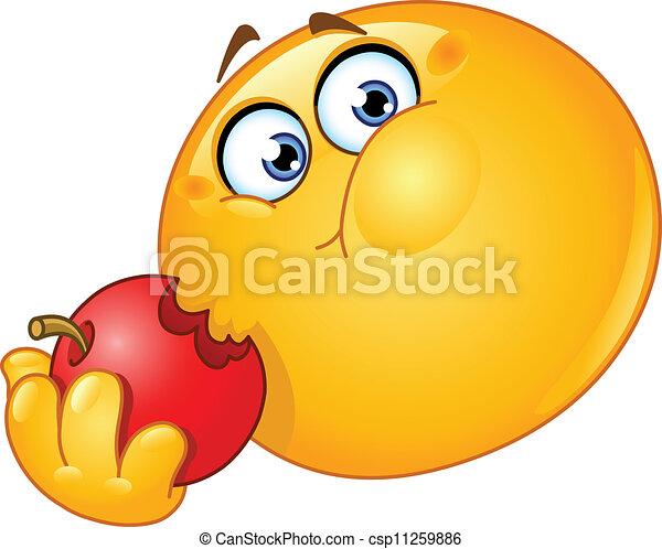 emoticon, りんごを食べること - csp11259886