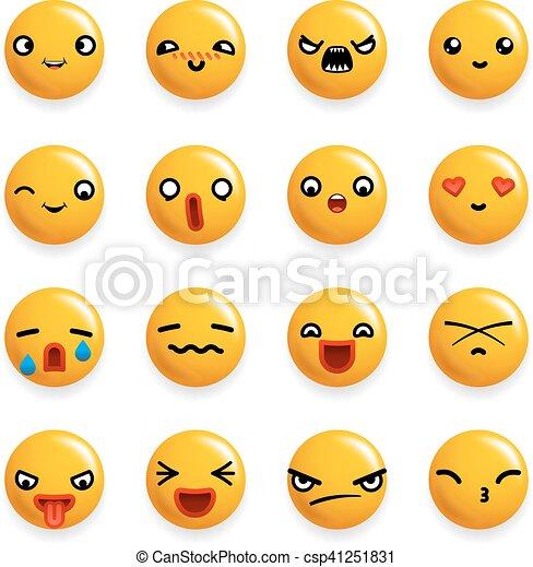 emoticon, セット, アイコン, 隔離された, イラスト, 現実的, ベクトル, デザイン, 微笑, 3d - csp41251831