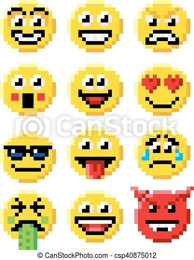 emoticon, セット, 芸術, ピクセル, emoji - csp40875012