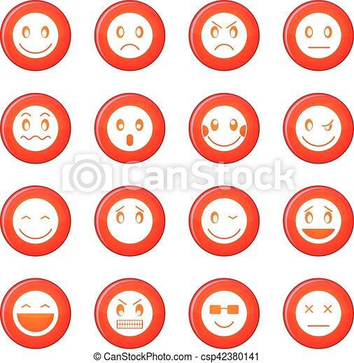 emoticon, ベクトル, セット, アイコン - csp42380141