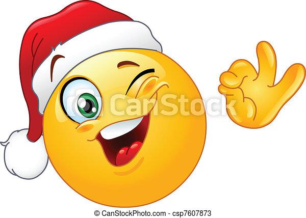 emoticon, 帽子, まばたき, santa - csp7607873