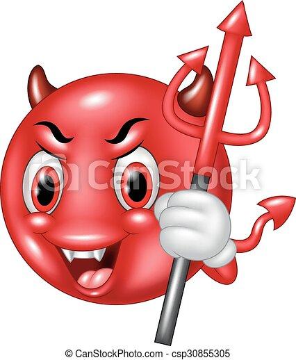 emoticon, 悪魔, trident, 漫画 - csp30855305