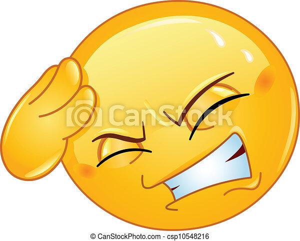 emoticon, 頭痛 - csp10548216