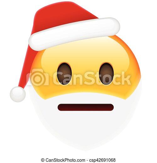Emoticon Babbo Natale.Emoticon Anno Preoccupato Sorriso Nuovo Natale Emoticon Isolato Illustrazione Preoccupato Year Vettore Fondo