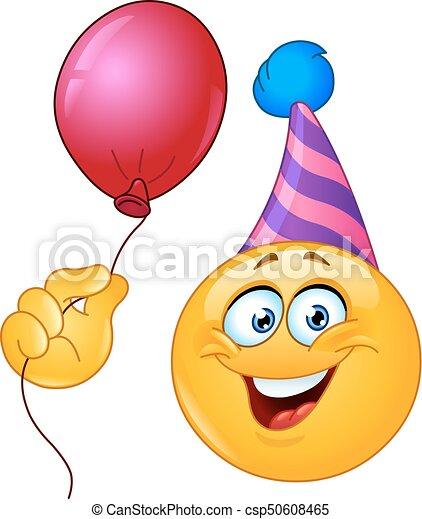 feestmuts jarig Emoticon, balloon, jarig, vasthouden, feestmuts. feestmuts jarig
