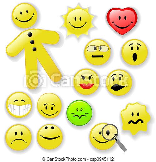 emoticon, bottone, smiley, famiglia, faccia - csp0945112