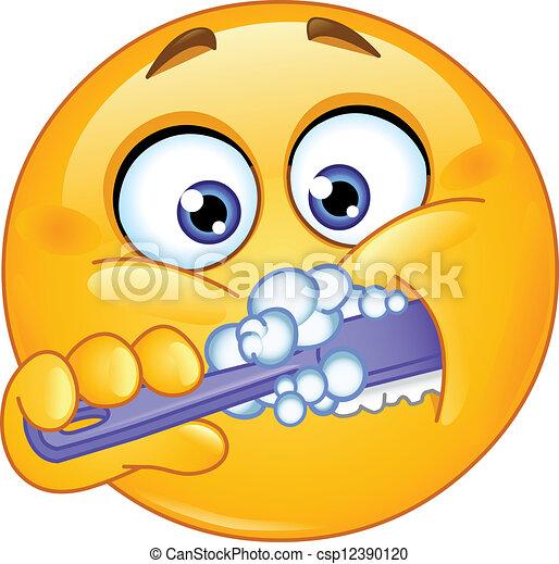 Emoticon brushing teeth - csp12390120
