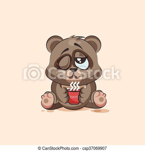 emoticon, café, apenas, copo, adesivo, personagem, isolado, urso, cima, caricatura, woke, emoji - csp37069907