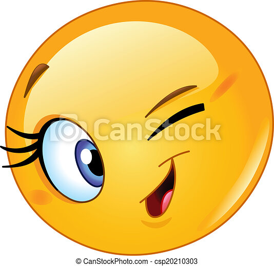 emoticon, cligner, femme - csp20210303