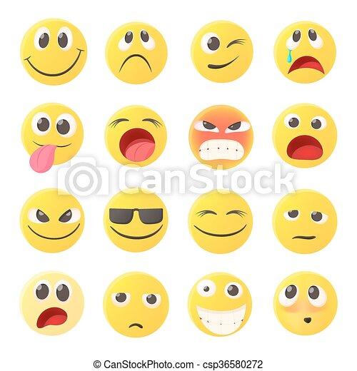 Iconos emoticonos, estilo de dibujos animados - csp36580272