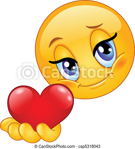 emoticon, dar, coração - csp5318043