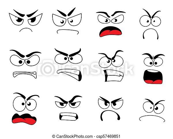 El Icono De La Cara Enojada De Emoticon Y Emoji Cara Humana Enojada Con Icono De Emociones Negativas Emoticon Alterado Con Canstock