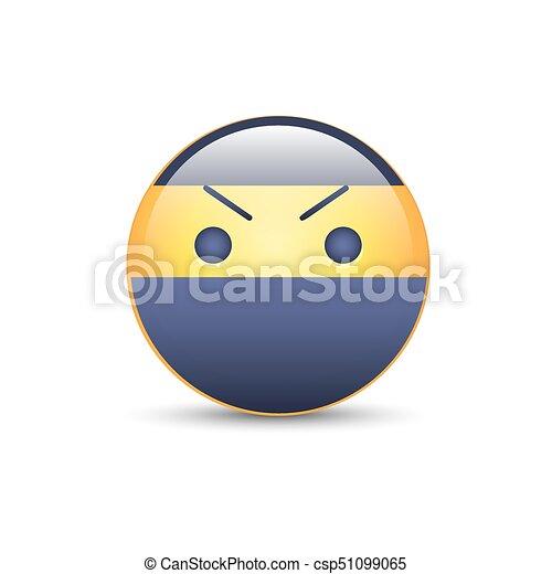 Emoticon Fâché Smiley Vecteur Face Ninja Icon Dessin Animé Emoji