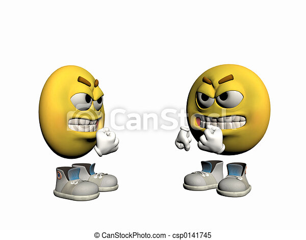 emoticon, fâché, type, disputing. - csp0141745