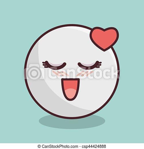 emoticon face kawaii style - csp44424888