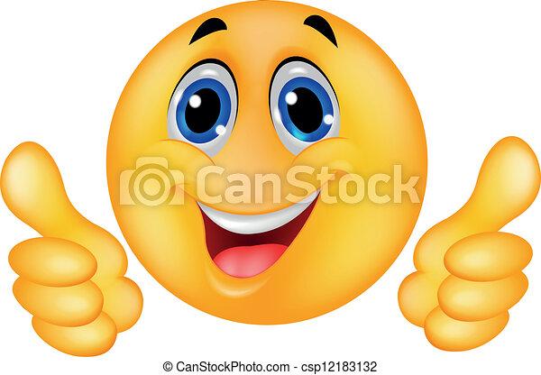 emoticon, feliz, smiley enfrentam - csp12183132